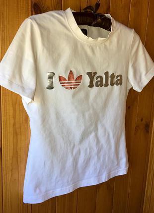 Белоснежная натуральная спортивная футболка adidas, не nike, r...