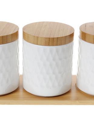 Набор (3 шт) банок 550мл для сыпучих продуктов Naturel на бамб...
