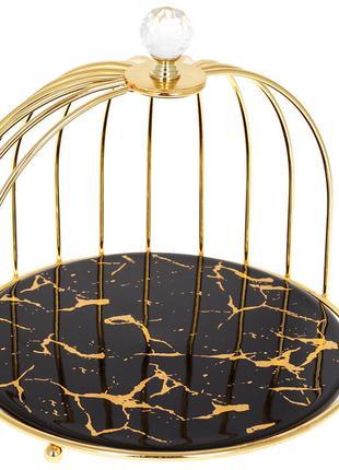 Фарфоровая подставка в форме клетки для птицы Мраморная Роскош...