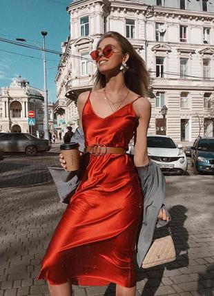 Шикарное шелковое платье комбинация миди в бельевом стиле красное