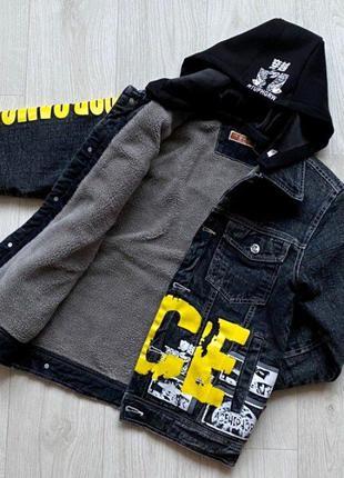 Супер модная новинка джинсовая куртка на утеплителе с отстежны...