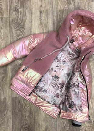 Куртка жилет с эко мехом тедди