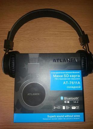 Беспроводные bluetooth наушники Atlanfa AT-7611A + FM +MP3 плеер