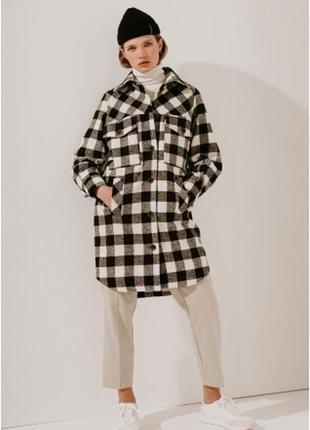 2020! valentir шерстяное пальто-рубашка длинное с кокеткой