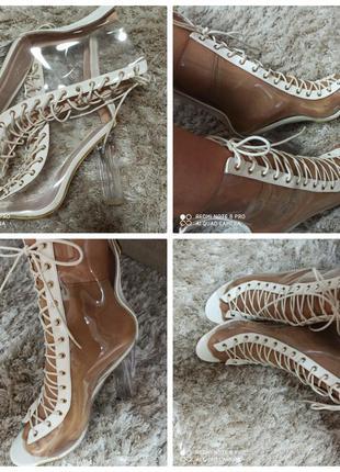 Прозрачные ботинки на шнуровке