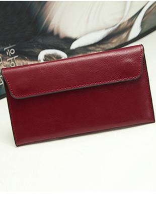 Кожаный женский красный кошелек натуральная кожа