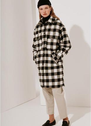 2020! valentir шерстяное пальто-рубашка длинное черная клетка