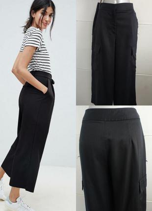 Стильные брюки кюлоты topshop черного цвета с карманами и необ...