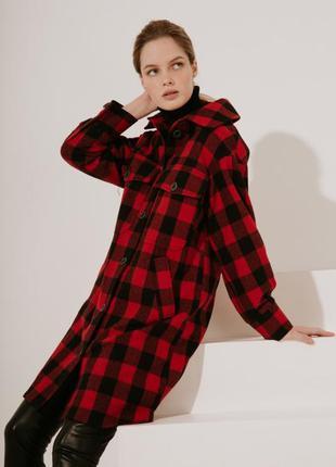 2020! valentir шерстяное пальто-рубашка длинное красная клетка