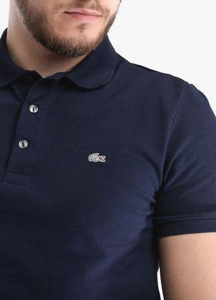 Мужская футболка Поло Lacoste Slim Fit Blue | Оригинал Лакост.