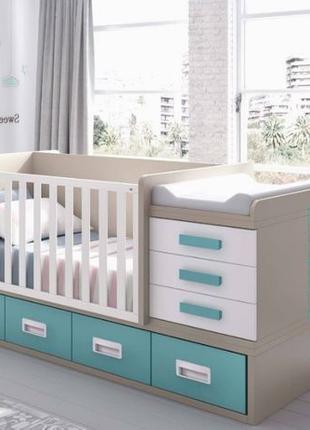 Детская кроватка трансформер для новорожденных с маятником!
