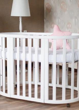 Детская кроватка-трансформер с маятником для новорожденных кру...