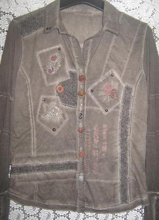 Оригинальная рубашка с вышивкой и аппликацией,  италия.