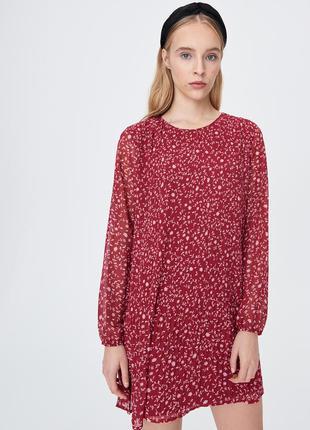 Платье плиссе в цветочный принт