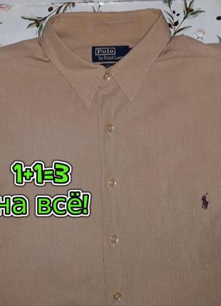 🎁1+1=3 фирменная мужская рубашка с длинным рукавом ralph laure...