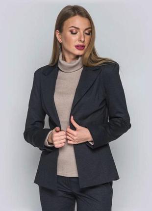 Жакет темно серый женский приталенный пиджак
