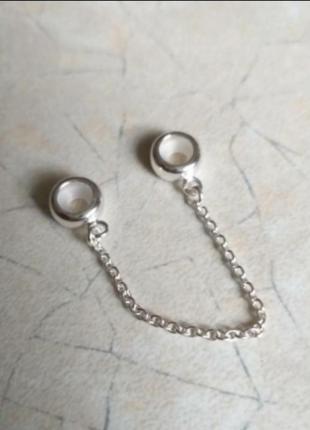 Защитная цепочка для браслетов в стиле пандора серебро 925