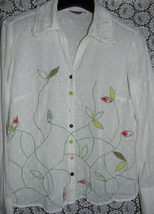 Нежная рубашка с вышивкой и аппликацией, per una.