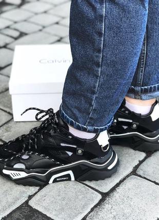 Calvin klein strike 205 black white шикарные женские кроссовки...