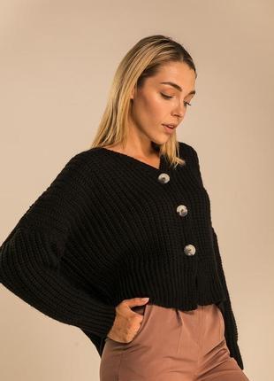 Женский вязаный оверсайз кардиган, свитер