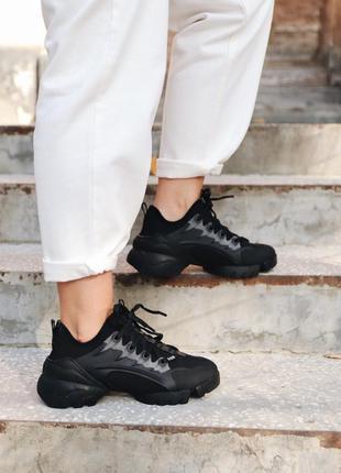 Dior d-connect black  шикарные женские кроссовки