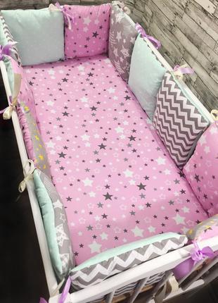 Комплект бортиков-подушек в кроватку с простынкой