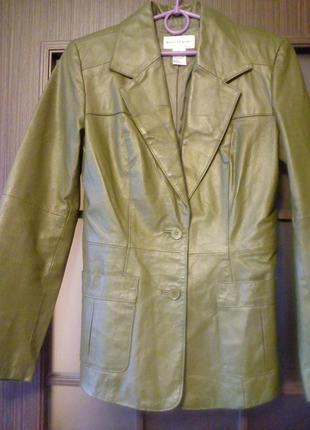 Зелёный кожаный жакет пиджак куртка
