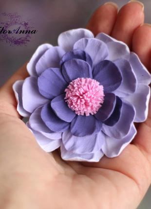 """Заколка ручной работы. цветок из полимерной глины """"сиреневая м..."""