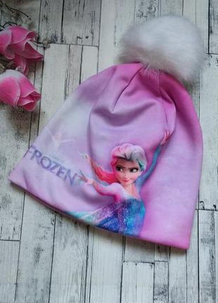 Детская теплая зимняя шапка анна и ельза на флисе для девочки
