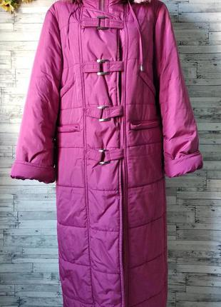 Женский пуховик куртка пальто зимний длинный на синтепоне розовый
