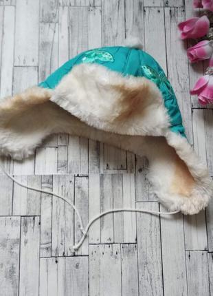 Зимняя шапка ушанка на девочку с мехом