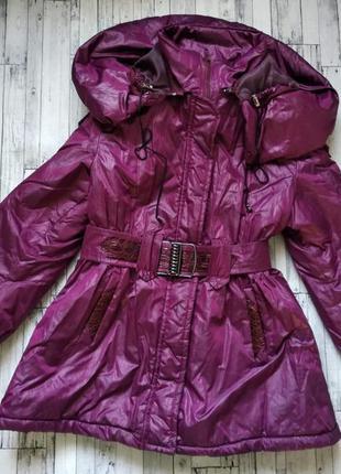 Зимняя куртка пальто удлиненная на синтепоне для девочку