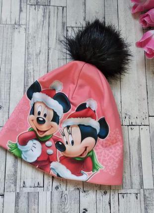 Детская теплая зимняя шапка микки на флисе для девочки