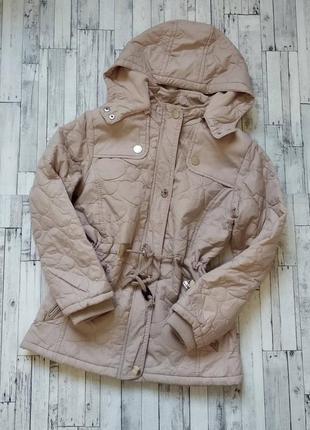 Демисезонная куртка grace на флисе для девочки бежевая