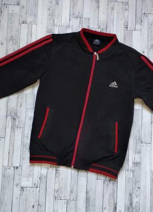 Спортивная мужская кофта adidas черная  красные полоски