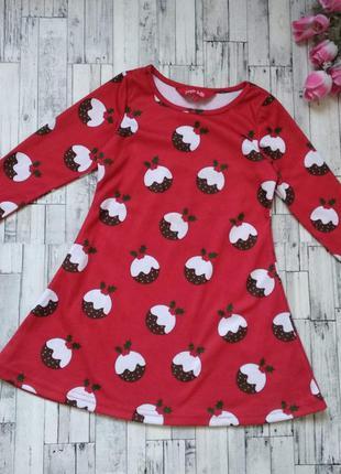 Новогоднее платье age jingle bells на девочку красное с принтом