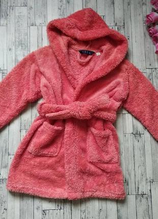 Махровый халат с капюшоном на девочку коралловый