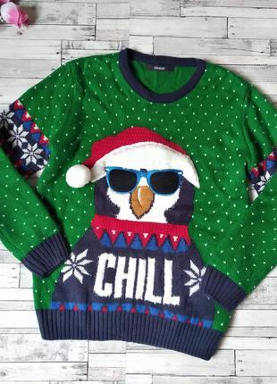 Новогодний свитер  с пингвином зеленый george на мальчика или ...