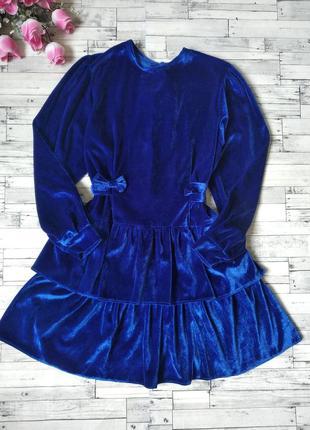 Нарядное платье синее электрик на девочку велюр