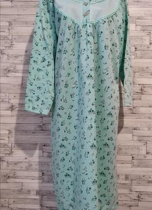 Теплая ночнушка ночная сорочка пижама с начесом женская зеленая