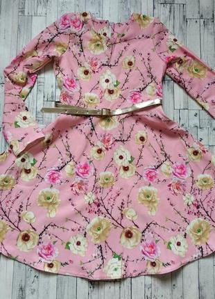 Платье на девочку ирен нежно розовое с поясом