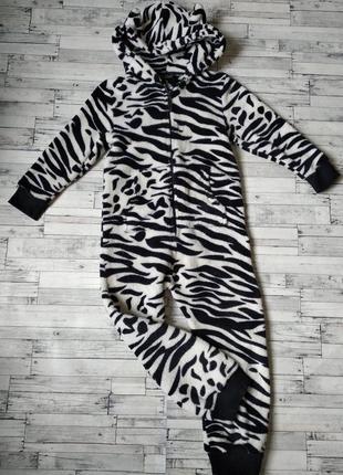 Махровый кигуруми слип пижама next зебра для девочки или мальчика