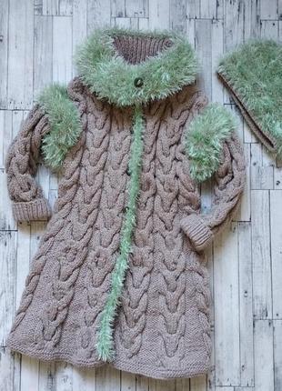Пальто +шапка вязаное на девочку 4-5 лет