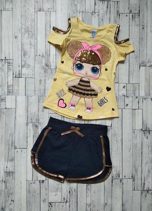 Костюм комплект футболка + шорты на девочку с lol рисунок мигает
