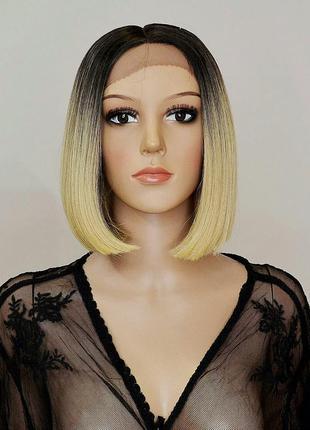 Парик каре омбре блонд