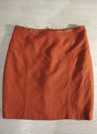 Темно-оранжевая шерстяная юбка трапеция