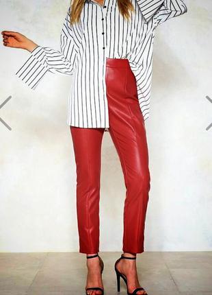 Италия/шикарные алые кожаные брюки с высокой талией