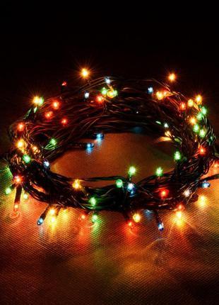 Новогодняя LED гирлянда на черном проводе
