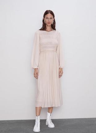 Пастельно розовое шифоновое платье zara s-m-l