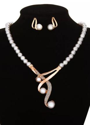 Женское украшение  набор ожерелье 8 марта
